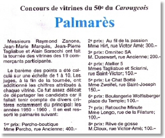 """En Octobre 2008, PERCHO participe au concours de vitrine du Journal """"Le Carougeois"""" qui fête ses 50 années de publication et...gagne le 1er prix!"""