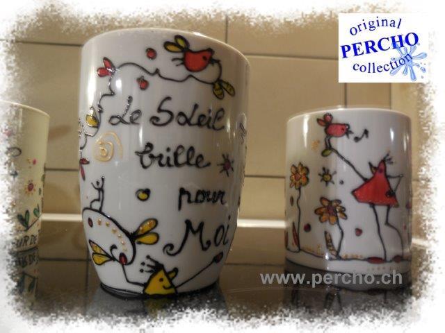 porcelaine blanche -décor PERCHO - ©